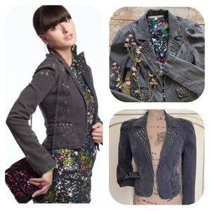 Rachel Roy Studded Grey Denim Jacket